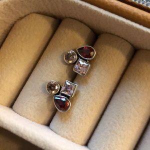 Silpada 3 Stone Sterling Silver Earrings